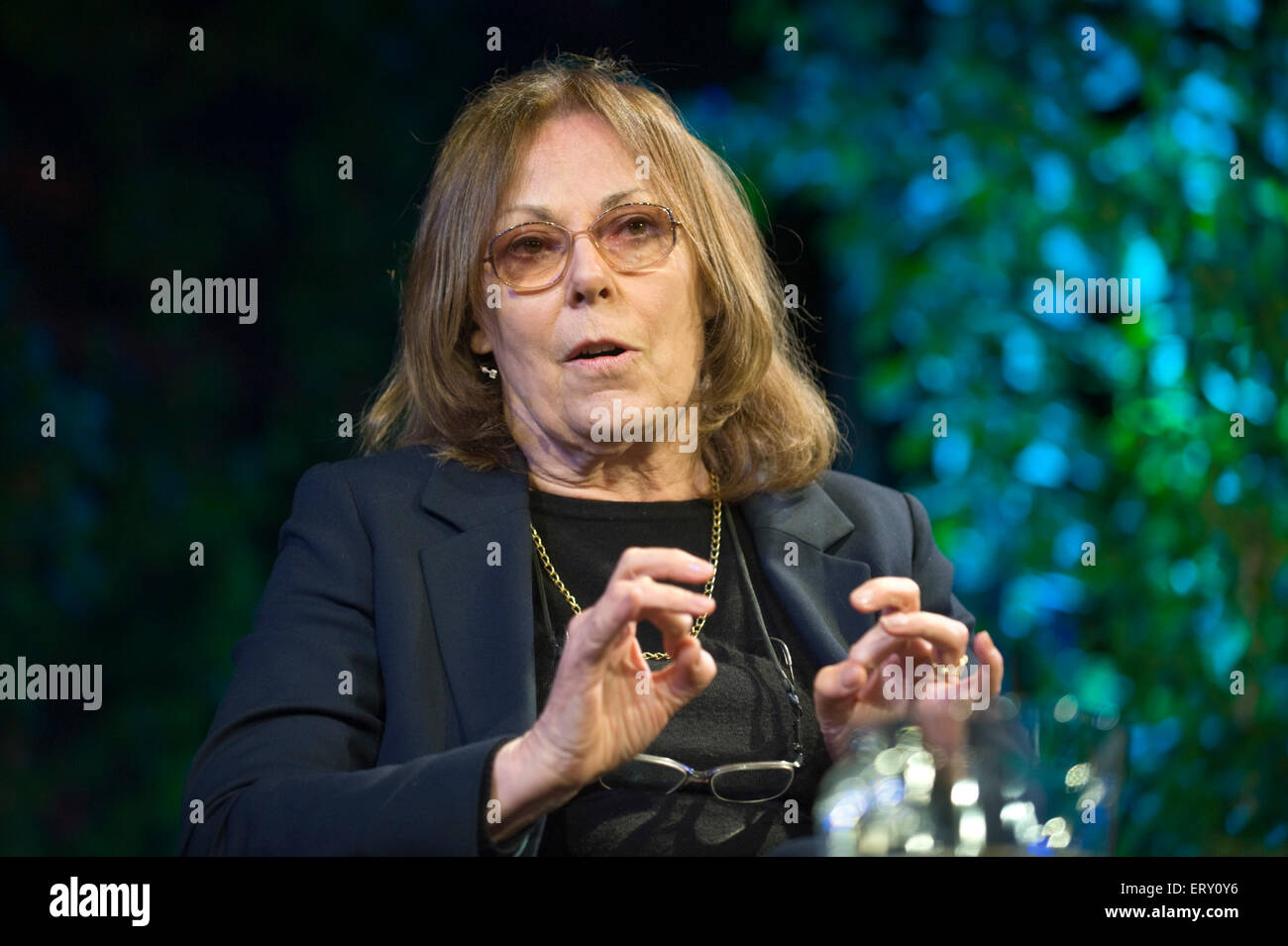 Rose Tremain novelist speaking on stage at Hay Festival 2015 - Stock Image