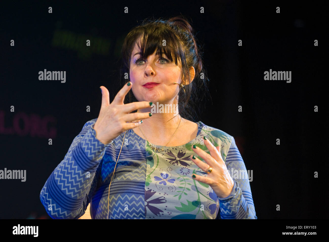 Marian Keyes author speaking on stage at Hay Festival 2015 - Stock Image