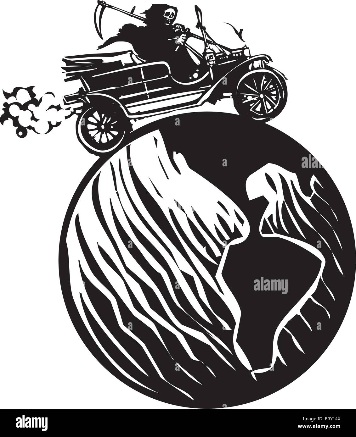 Woodcut style expressionist image of the grim reaper death driving a vintage car around the globe - Stock Image