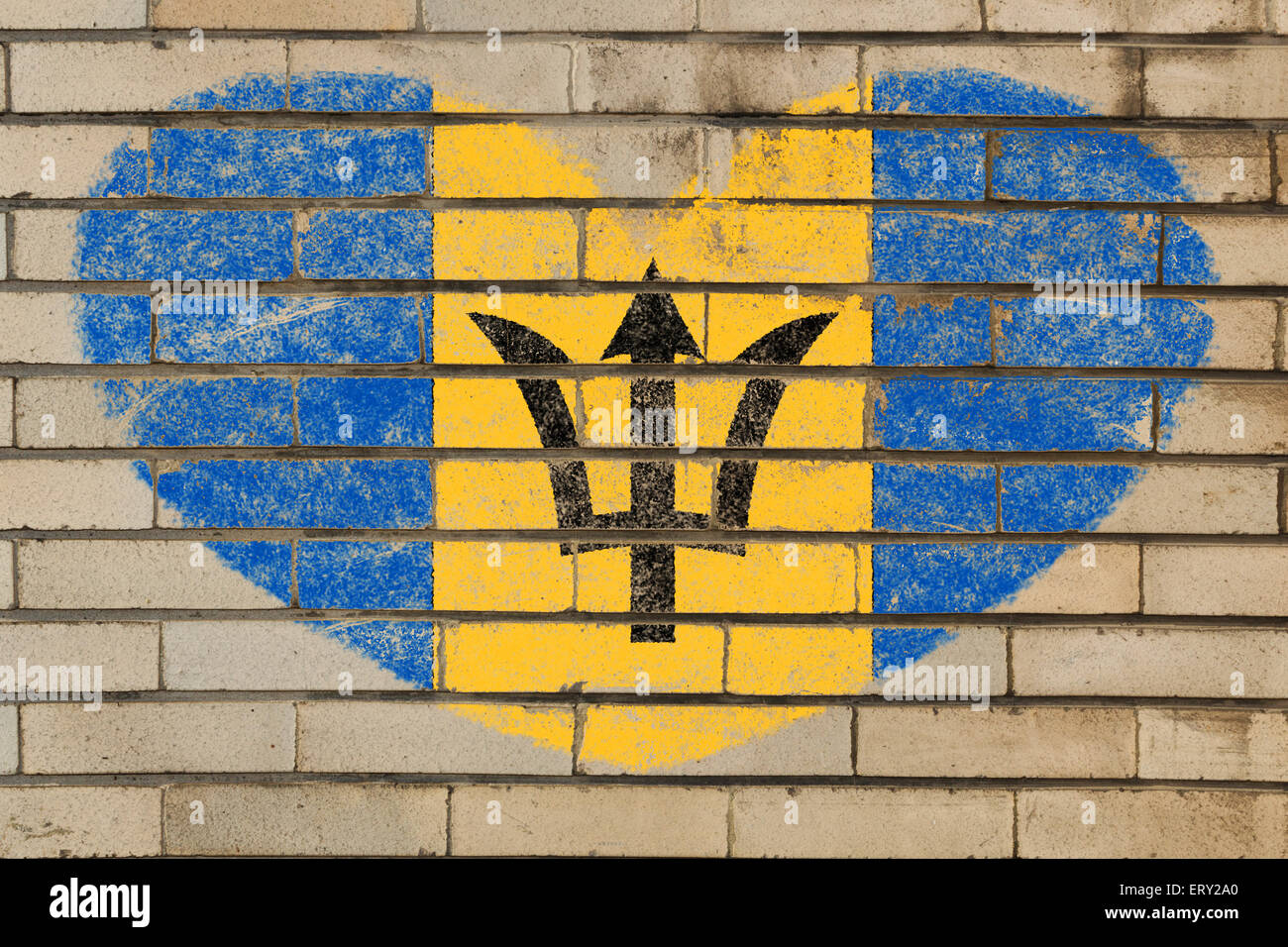 heart shaped flag in colors of Barbados on brick wall Stock Photo ...