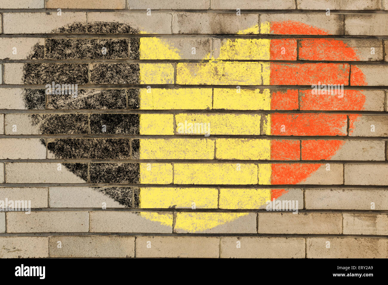 heart shaped flag in colors of Belgium on brick wall Stock Photo ...