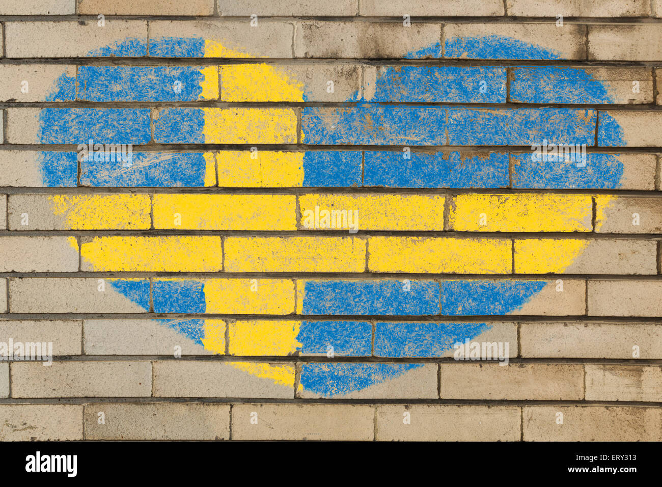 heart shaped flag in colors of Sweden on brick wall Stock Photo ...
