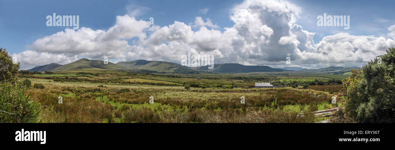 Pastureland at the Ring of Kerry in Cahersiveen, County Kerry, Ireland - Stock Image