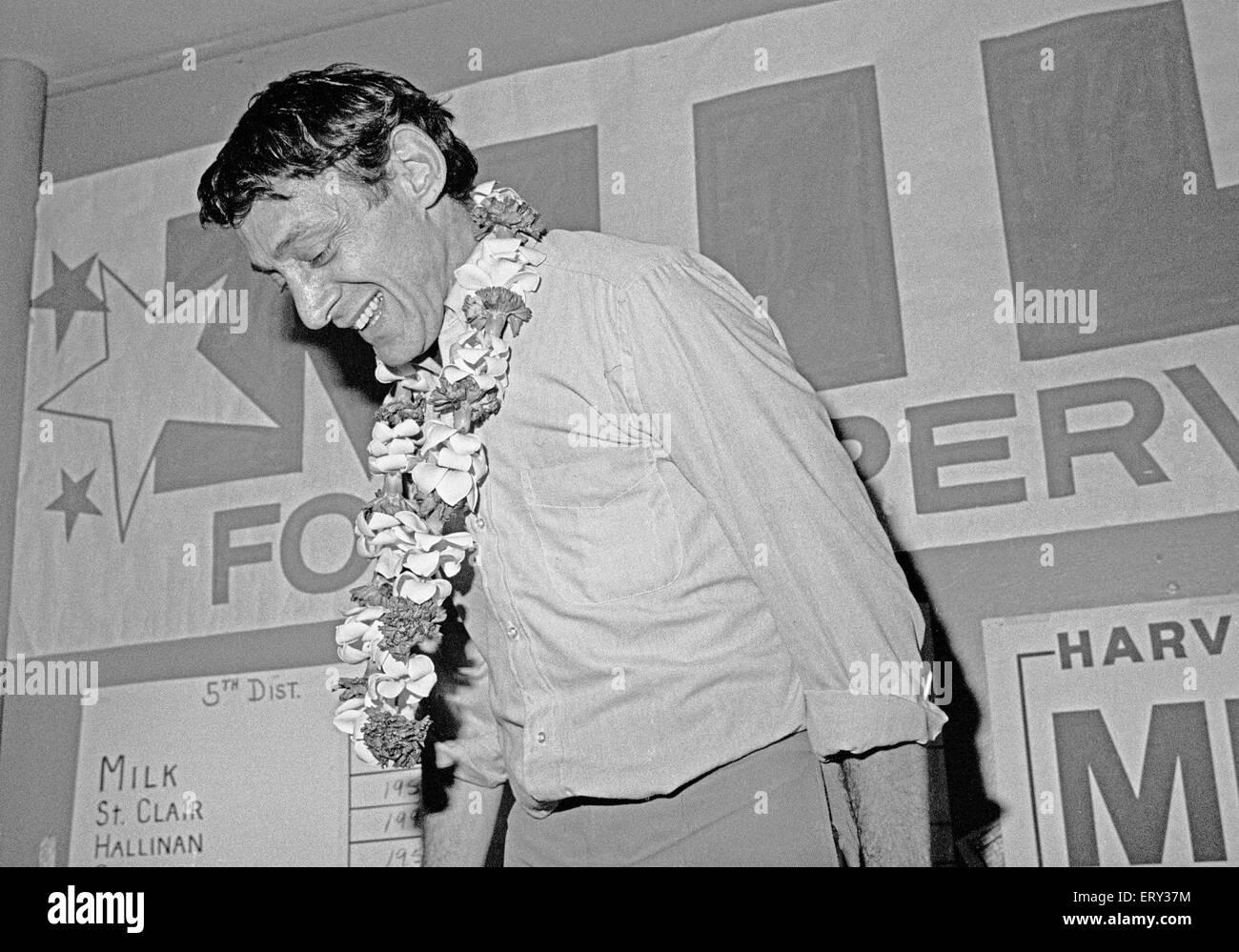 Harvey Milk, wins election as a San Francisco Supervisor, November 8 1977, - Stock Image