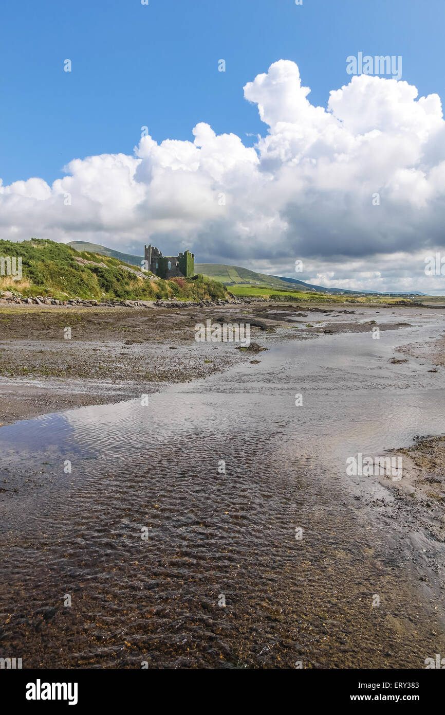 Ballycarbery Castle with tidal creek at the Ring of Kerry in Cahersiveen, County Kerry, Ireland - Stock Image
