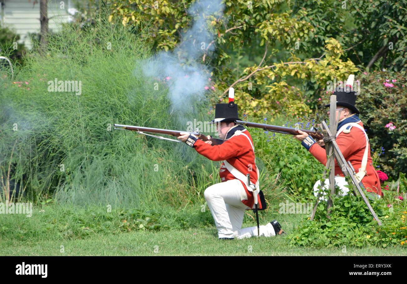 British troops firing at Battle of Bladensburg reenactment - Stock Image