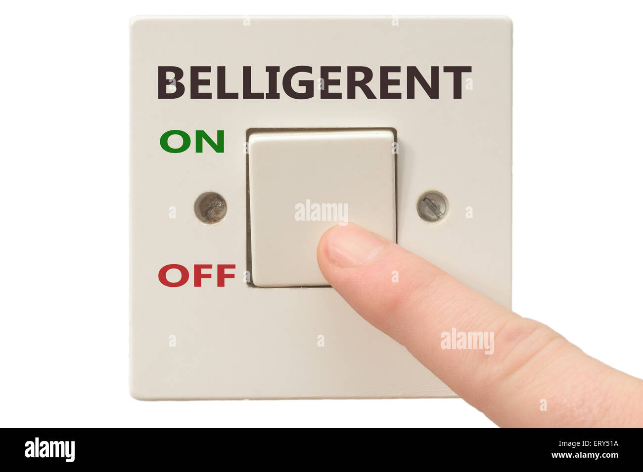 Turning off Belligerent with finger on electrical switch - Stock Image