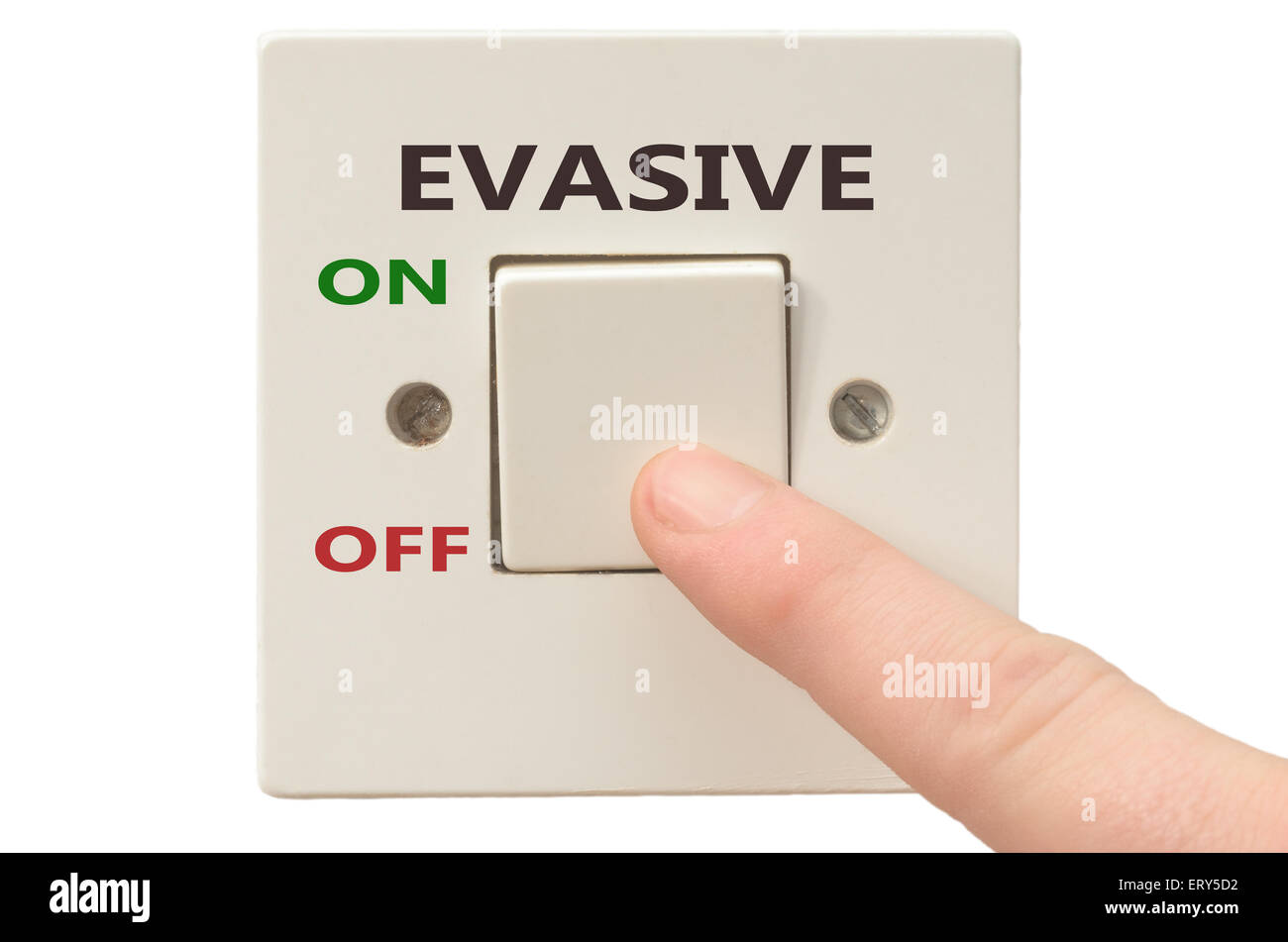 Turning off Evasive with finger on electrical switch - Stock Image