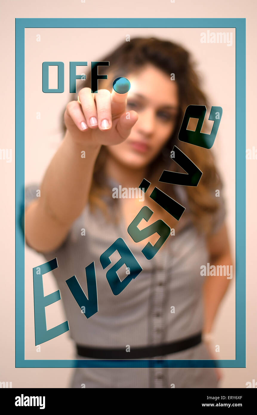 young woman turning off Evasive on screen - Stock Image