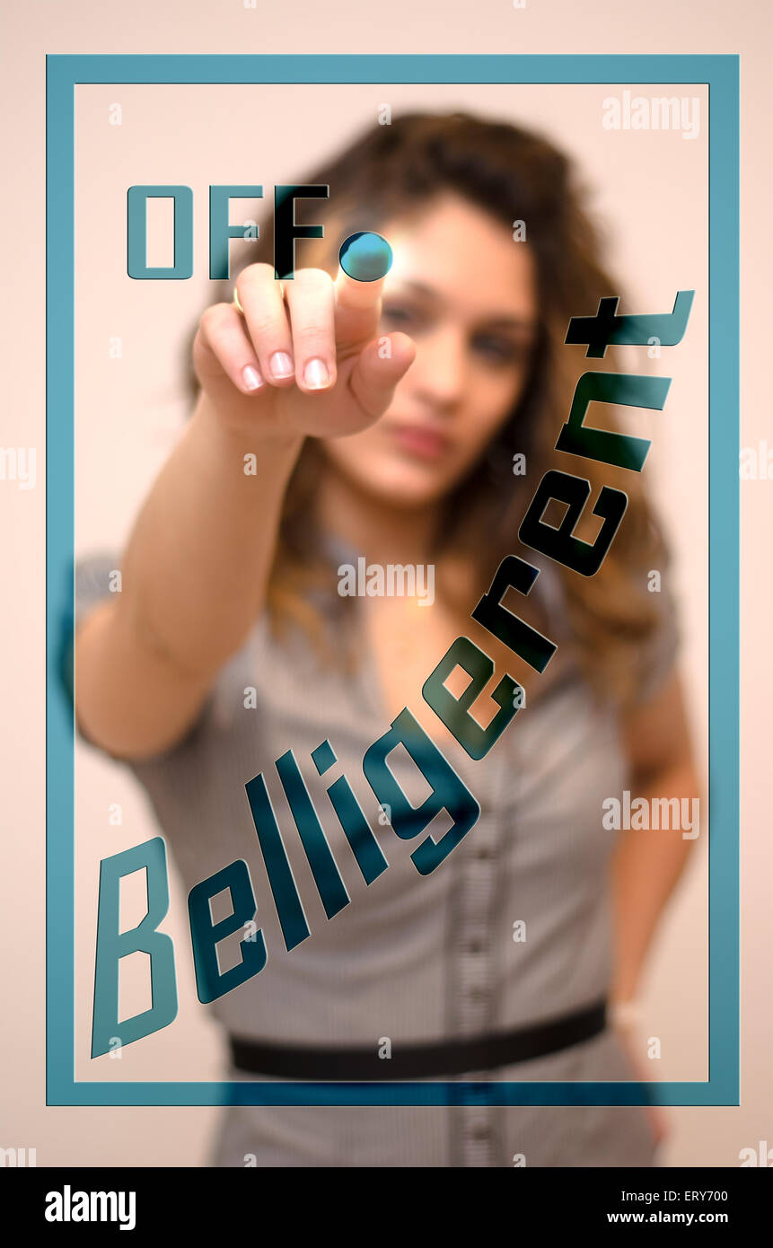young woman turning off Belligerent on screen - Stock Image