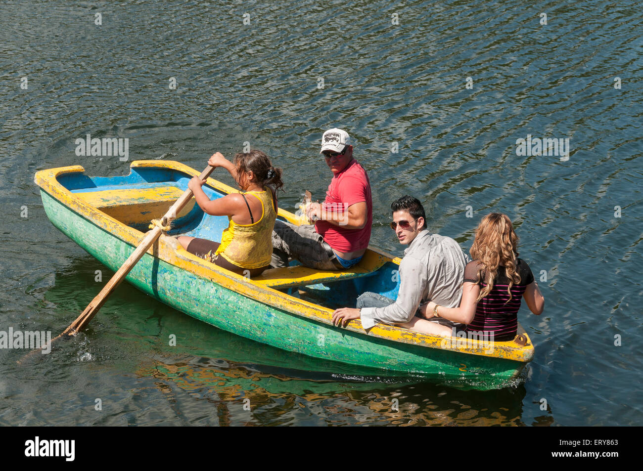 Elk224-2032 Cuba, Las Terrazas, Two couples boating on lake - Stock Image