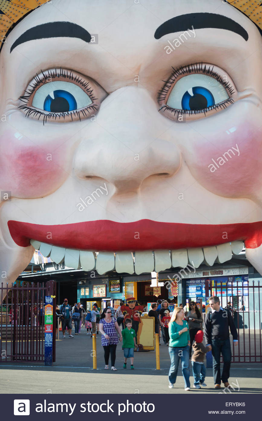 Luna Park entrance, Sydney, New South Wales, Australia, - Stock Image