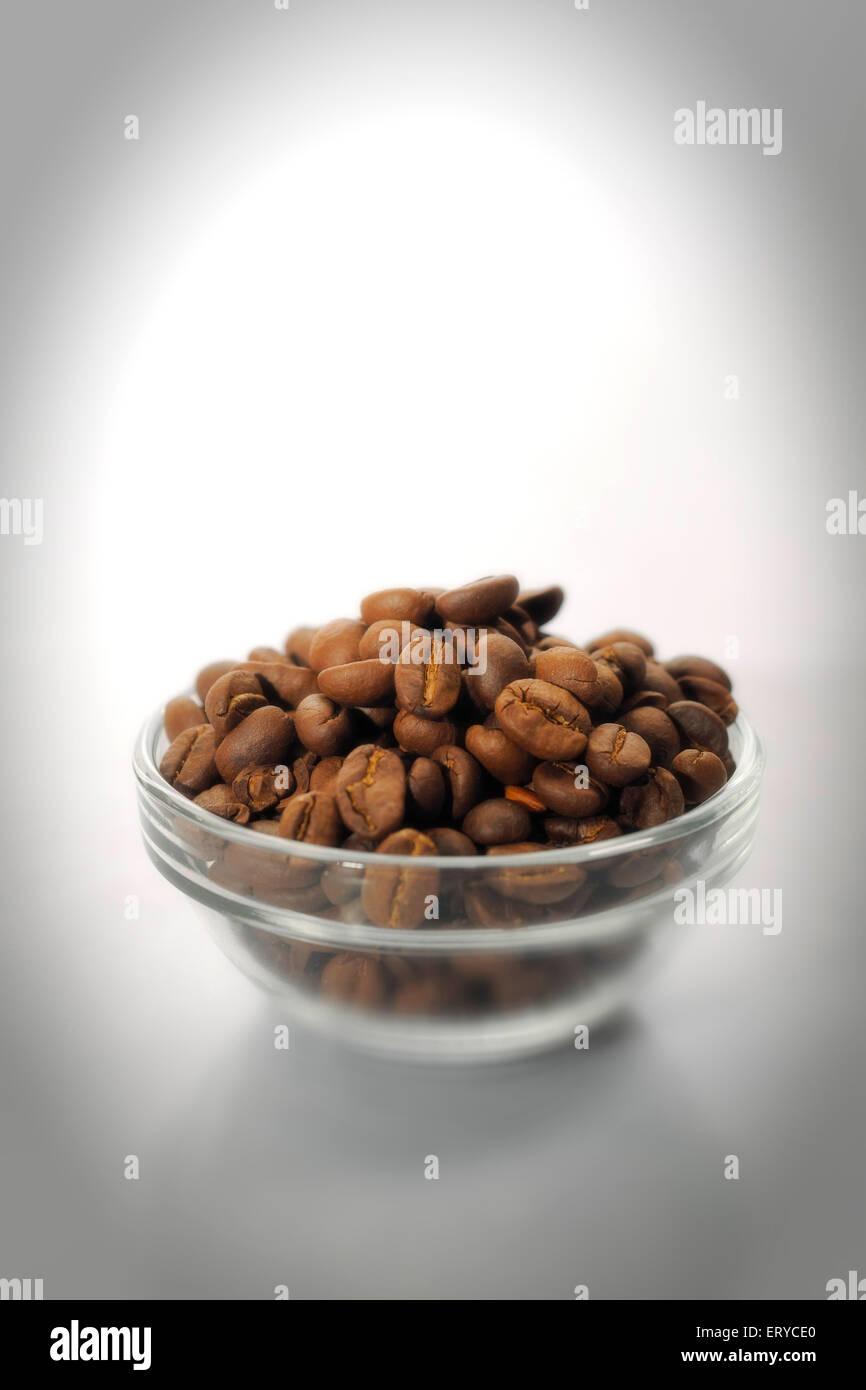 Kitchen things ; roasted coffee beans ; Bombay Mumbai ; Maharashtra ; India - Stock Image
