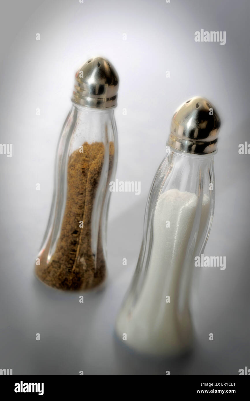 Kitchen things ; salt & pepper shaker ; Bombay Mumbai ; Maharashtra ; India - Stock Image