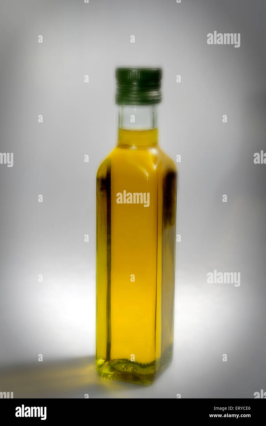 Kitchen things ; virgin olive oil ; Bombay Mumbai ; Maharashtra ; India - Stock Image