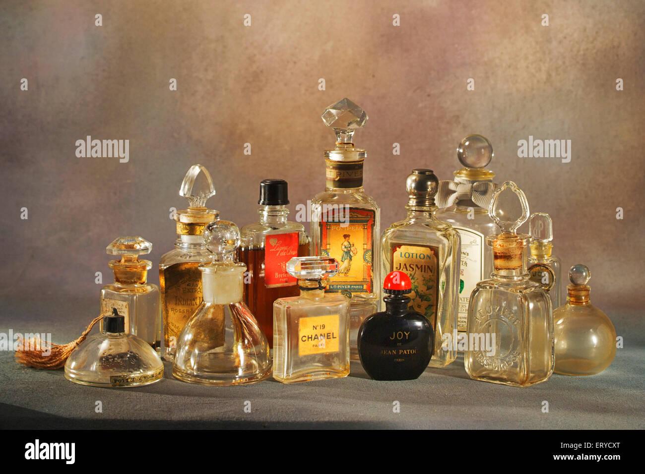 Heritage old perfume bottles ; India - Stock Image