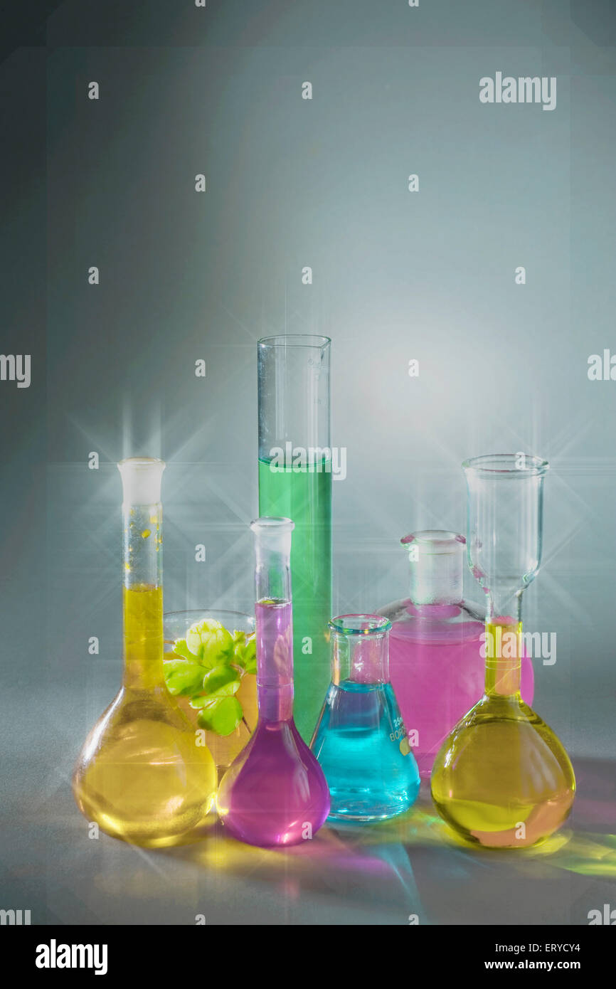 Colourful Chemicals laboratory apparatus ; India - Stock Image