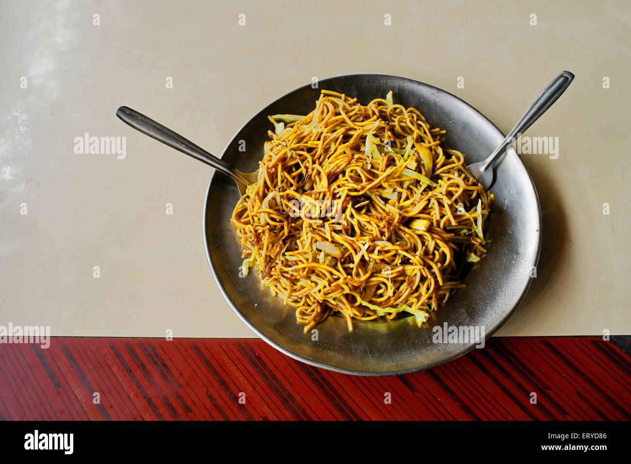 Vegetable noodles ; wayside Dhaba ; Lumbini ; Nepal - Stock Image