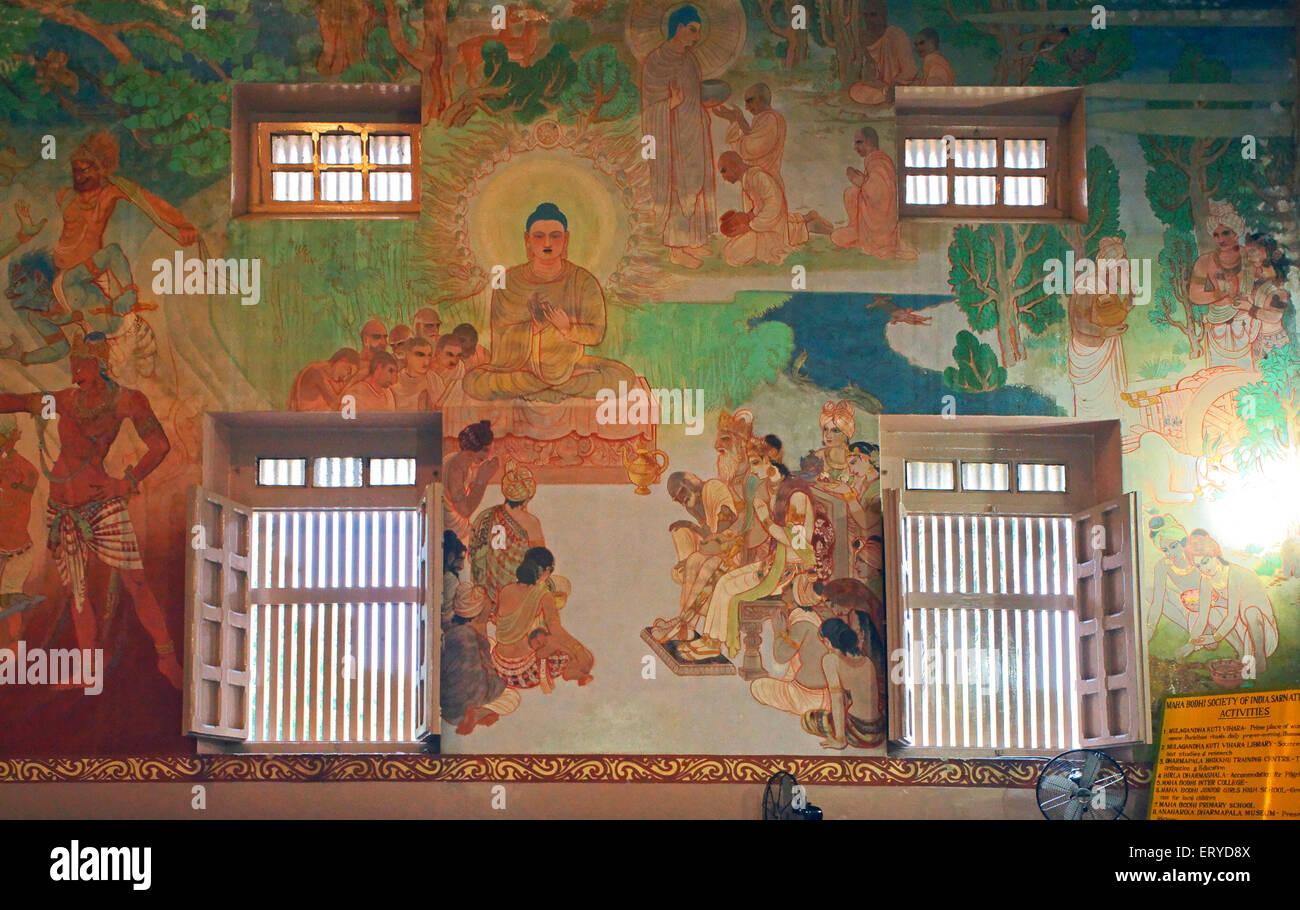 Life of Lord Buddha in painting format inside Mulagandha Kuti Vihar ; Buddhist site at Sarnath near Varanasi ; Uttar - Stock Image
