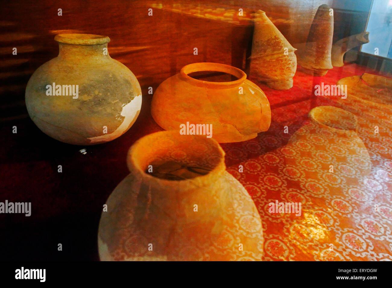 Excavated artefact in museum ; UNESCO World Heritage Gautam Buddha's birthplace ; Lumbini ; Nepal - Stock Image