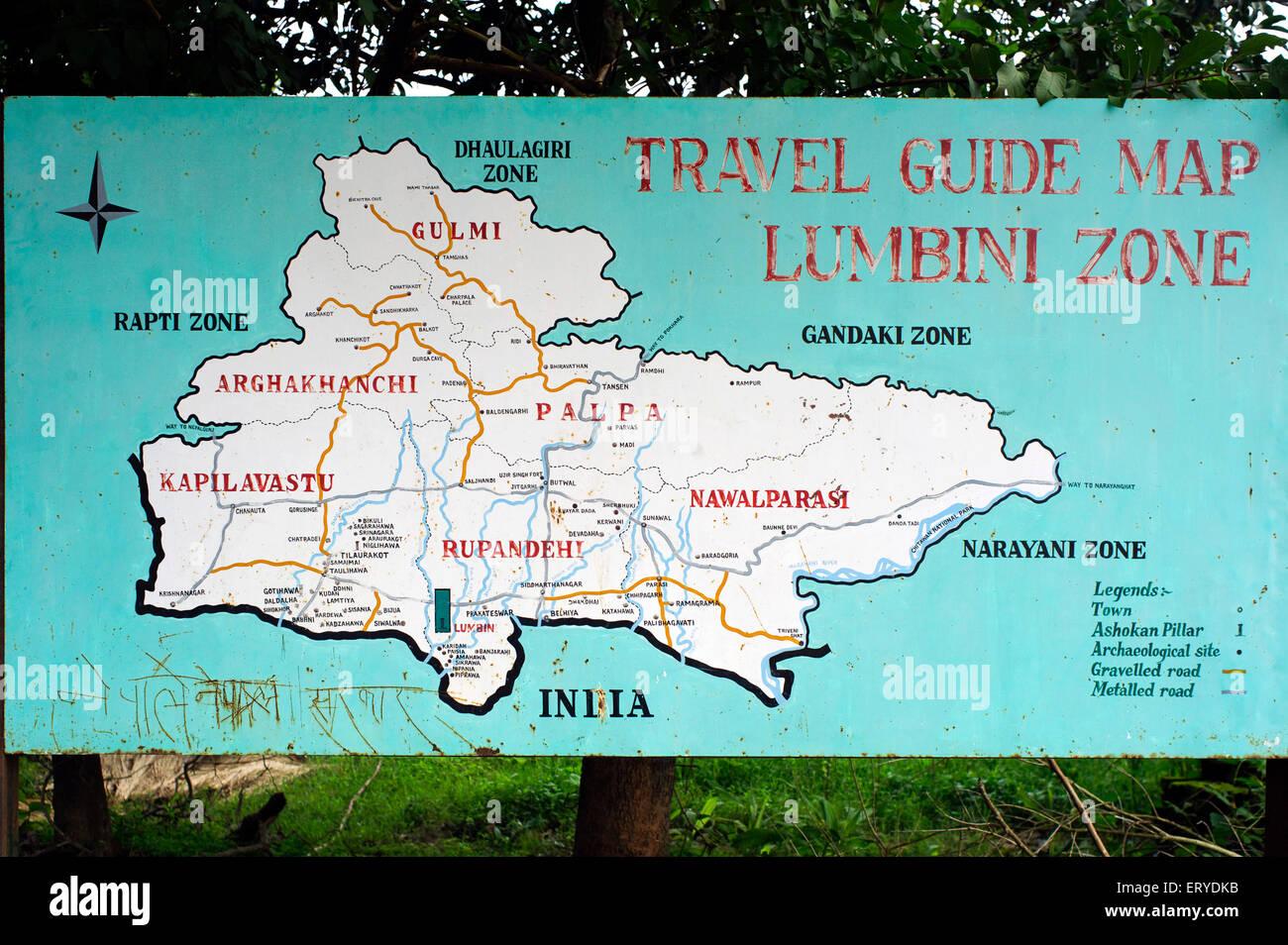 Buddhist pilgrim's travel guide map ; Lumbini Zone ; Nepal - Stock Image