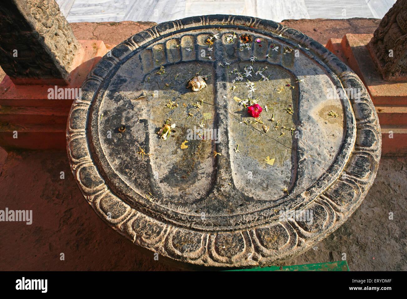 Holy footprints ; UNESCO World Heritage Mahabodhi temple ; Bodhgaya ; Bihar ; India - Stock Image