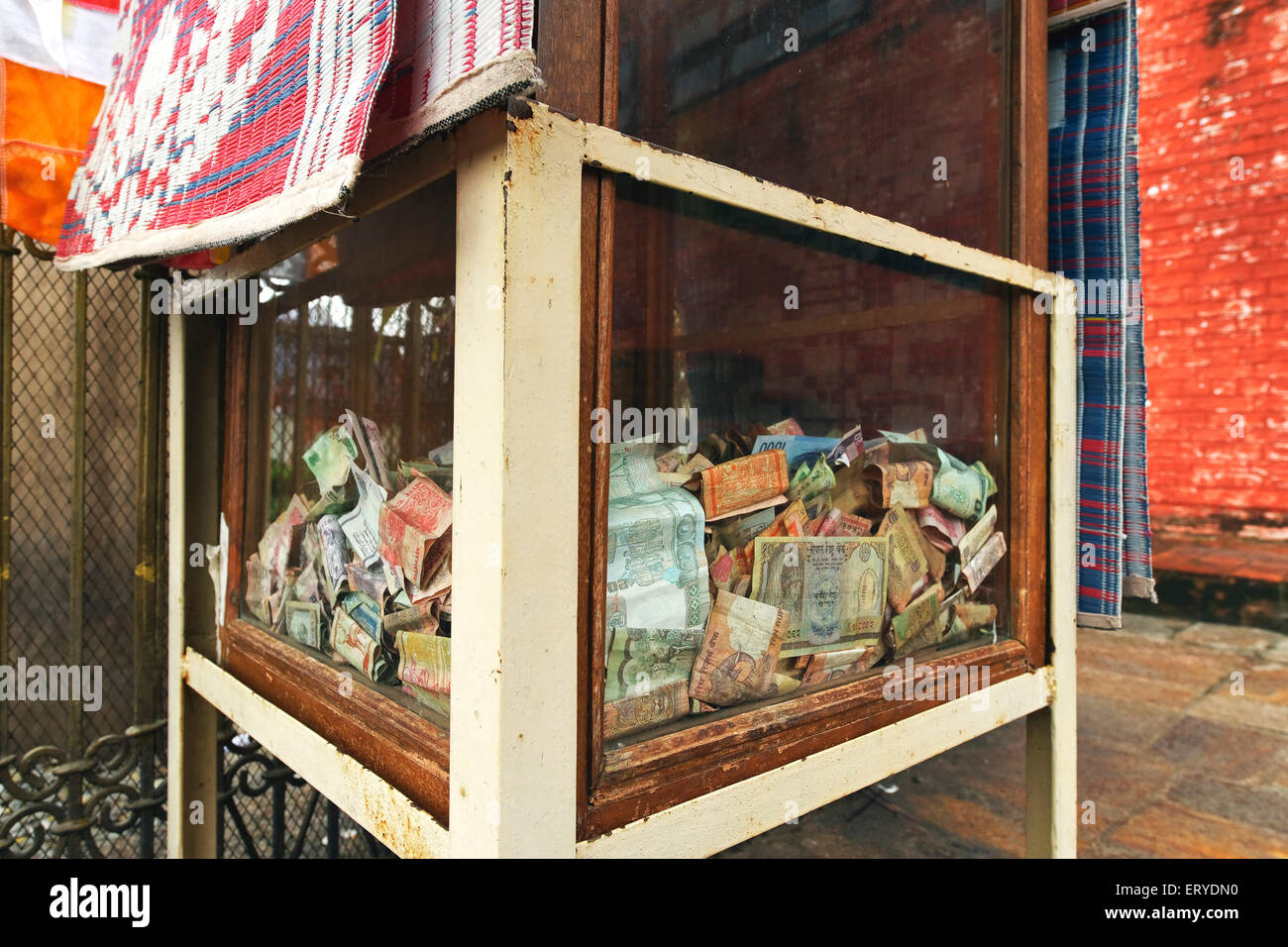 Donation box ; UNESCO World Heritage site ; Gautam Buddha's birthplace at Lumbini ; Nepal - Stock Image