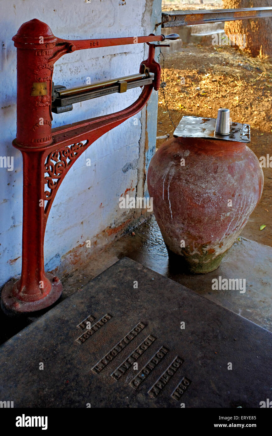 Water supply ; railway station Lunidhar near Mota Devalia ; district Amreli ; Saurashtra ; Gujarat ; India - Stock Image
