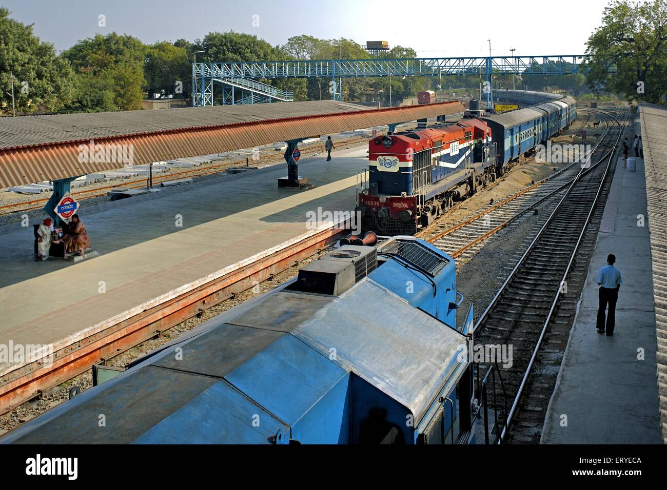 Diesel locomotive train at Rajkot railway station ; Gujarat ; India - Stock Image