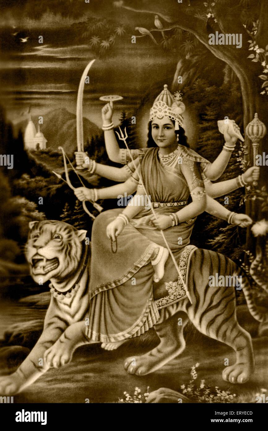 Heritage ; old picture postcard ; 1935 mythology Ambamata on tiger ; Bombay Mumbai ; Maharashtra ; India - Stock Image