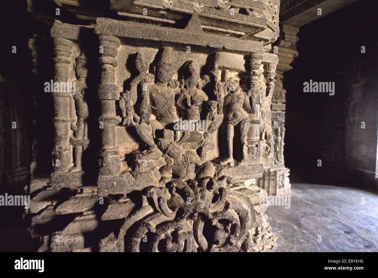 Statue carved on pillar in Hemadpanti Gondeshvar Shiva temple built in eleventh century in Sinnar town ; District - Stock Image