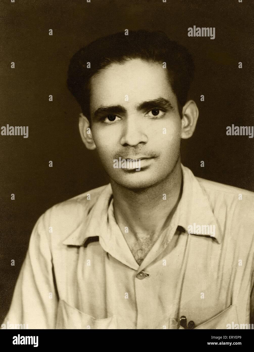 Old vintage 1900s studio photograph of Arvind Dave , 1946 , MR#767 Stock Photo