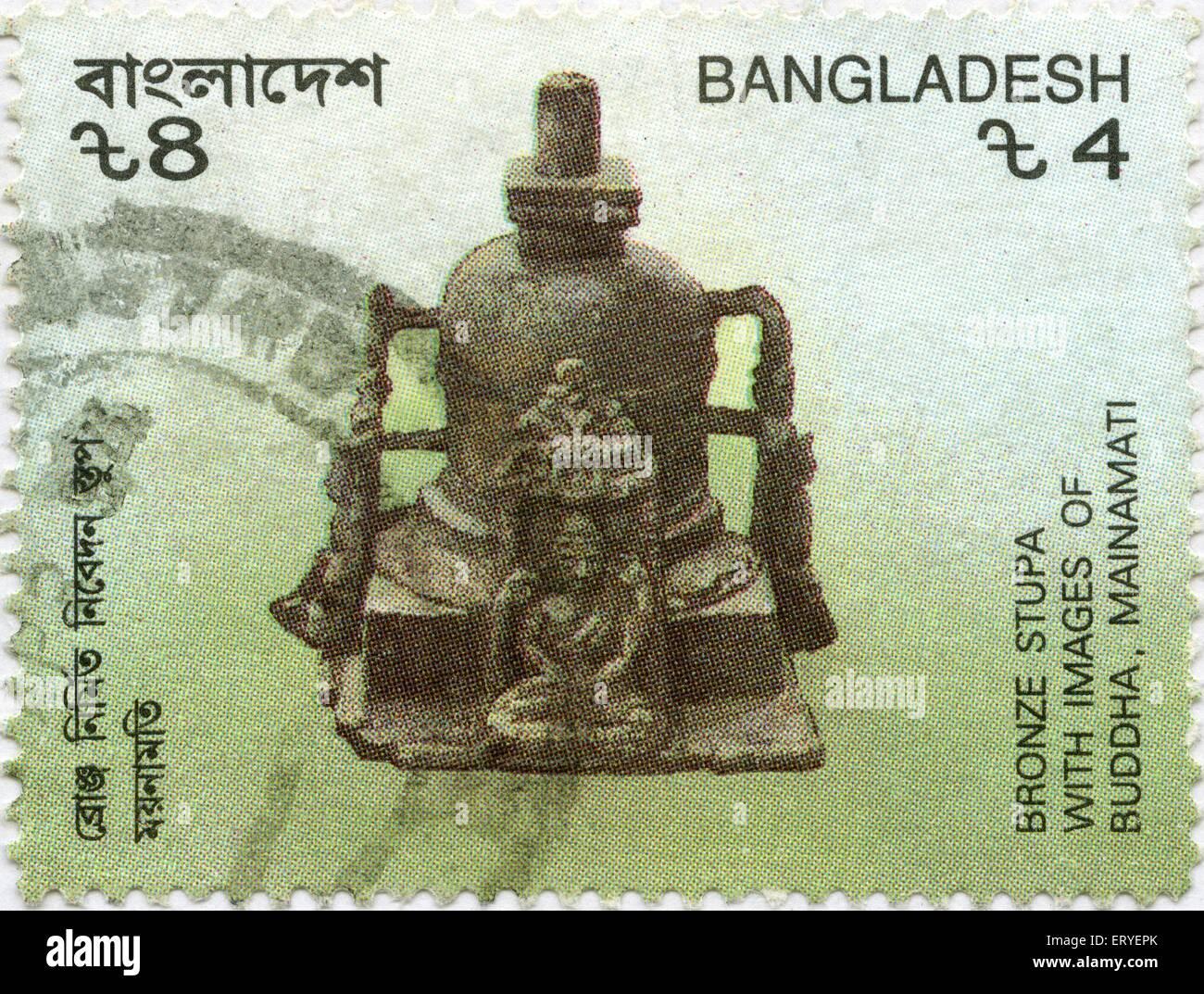 aad 163909 - Bronze Stupa with Buddha image postal stamp of Bangladesh - Stock Image