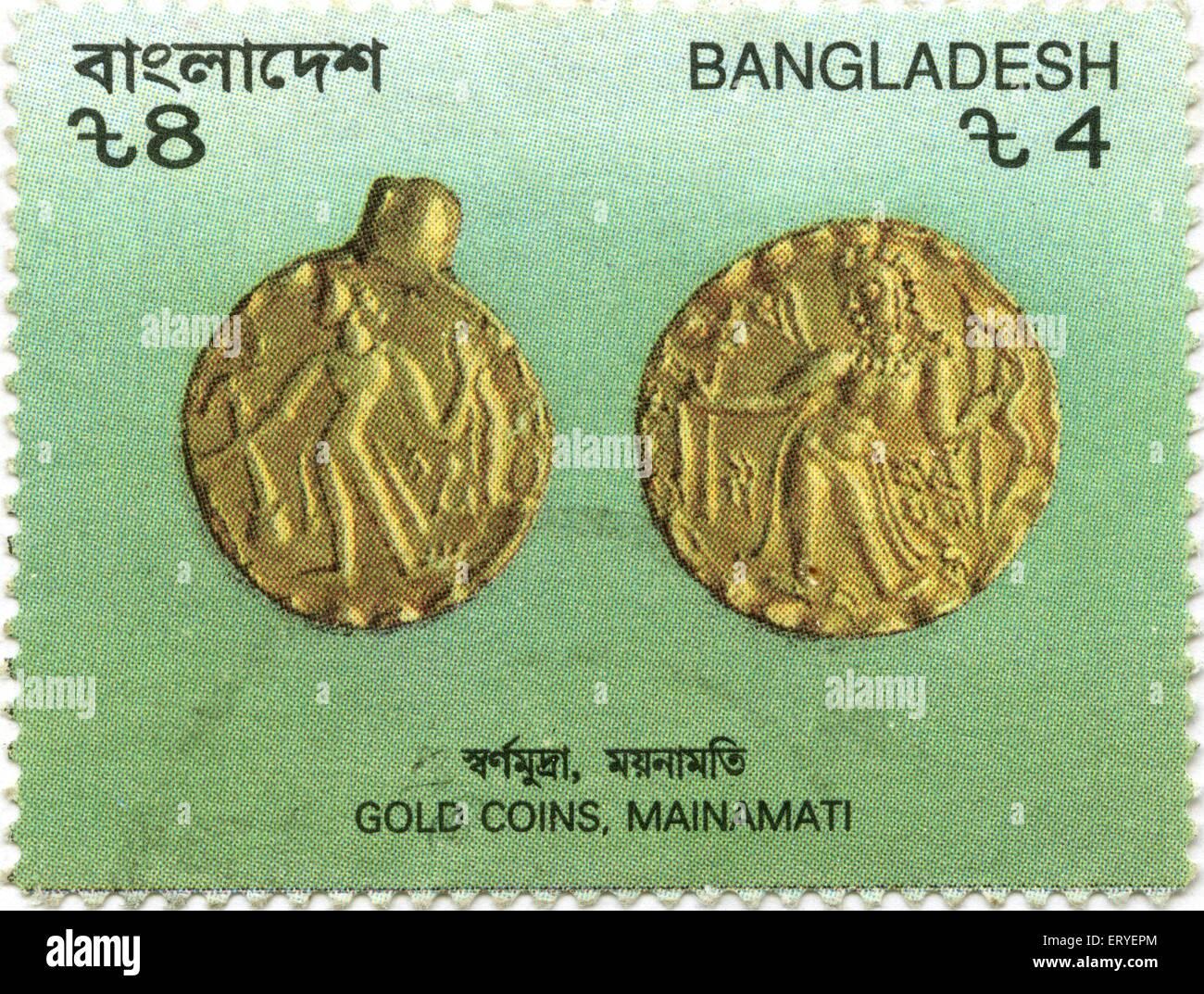 Postal stamp of gold coins ; Mainamati ; Bangladesh - Stock Image