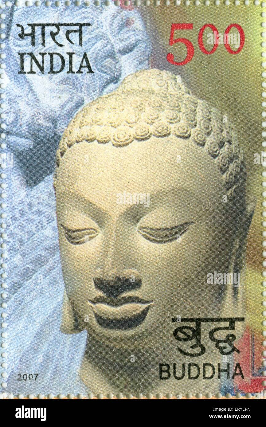 aad 163911 - Postage stamp of Buddha of Rupees Five , India - Stock Image