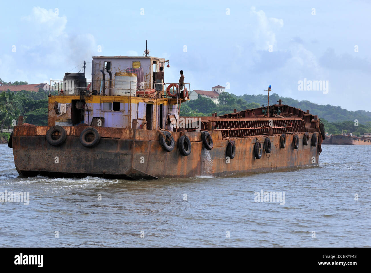 Shipping ; barge in river Madovi ; Old Goa ; India - Stock Image