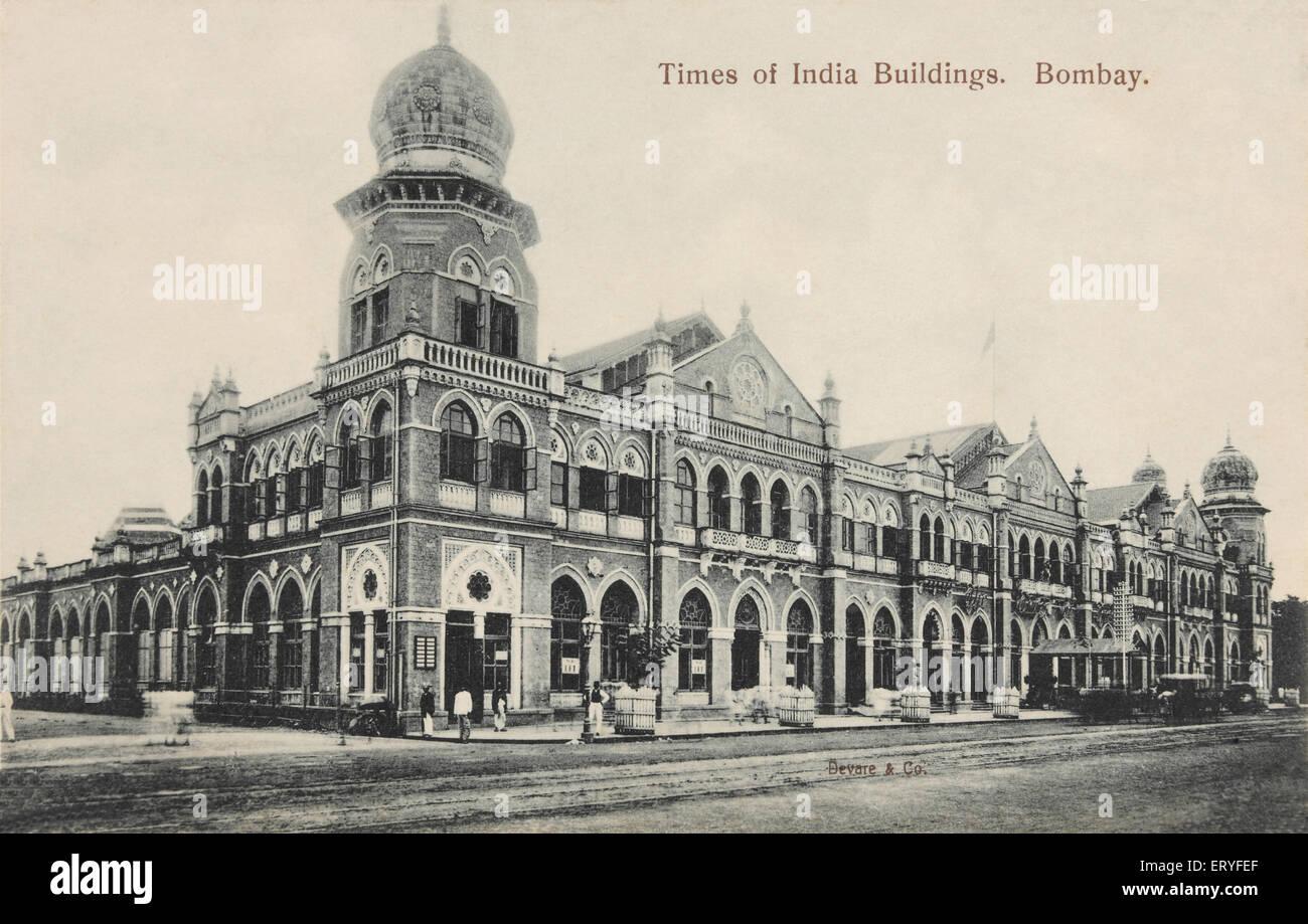 Times of India building  Old vintage Bombay Mumbai Maharashtra India - Stock Image