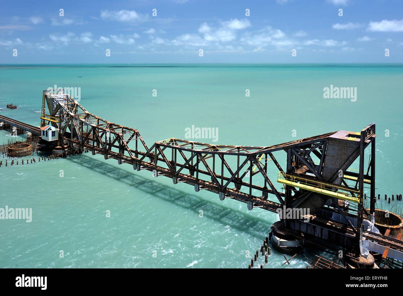 Longest railway pamban bridge on sea ; Rameswaram ; Tamil Nadu ; India - Stock Image