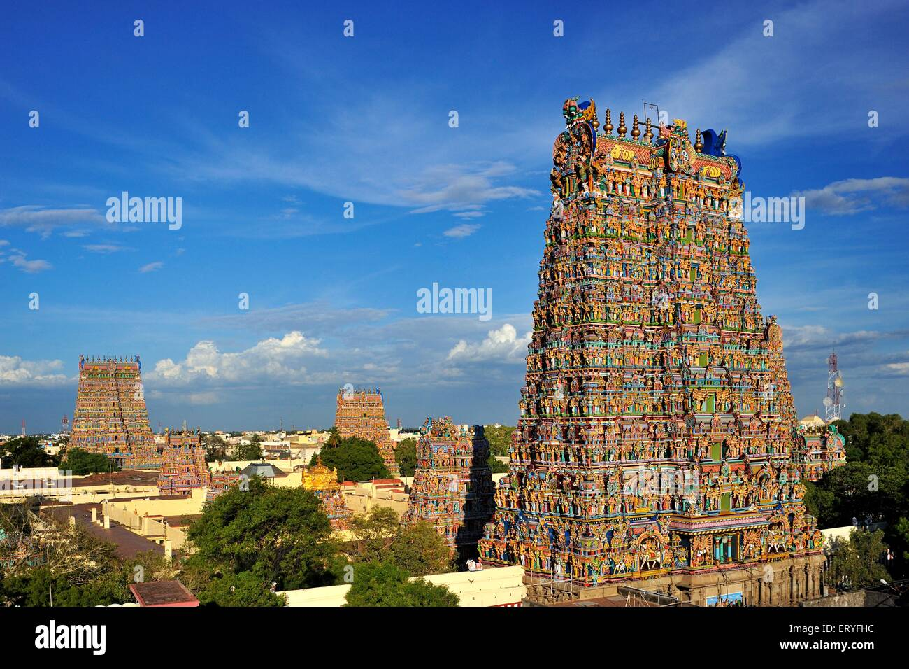 Meenakshi Sundareswarar or Meenakshi Amman Temple ; Madurai ; Tamil Nadu ; India Stock Photo