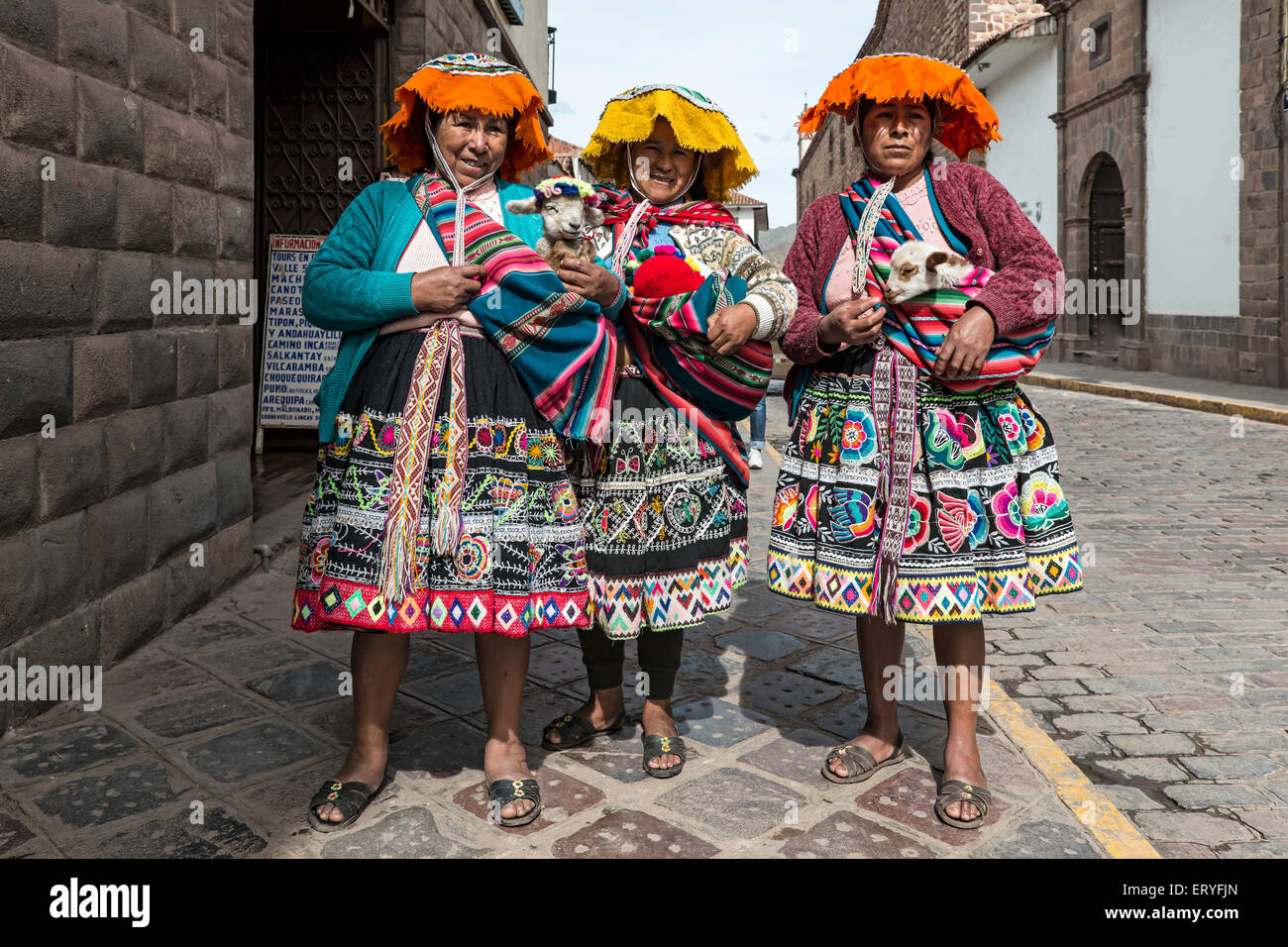 Traditionally dressed women with lambs, Cusco, Peru - Stock Image