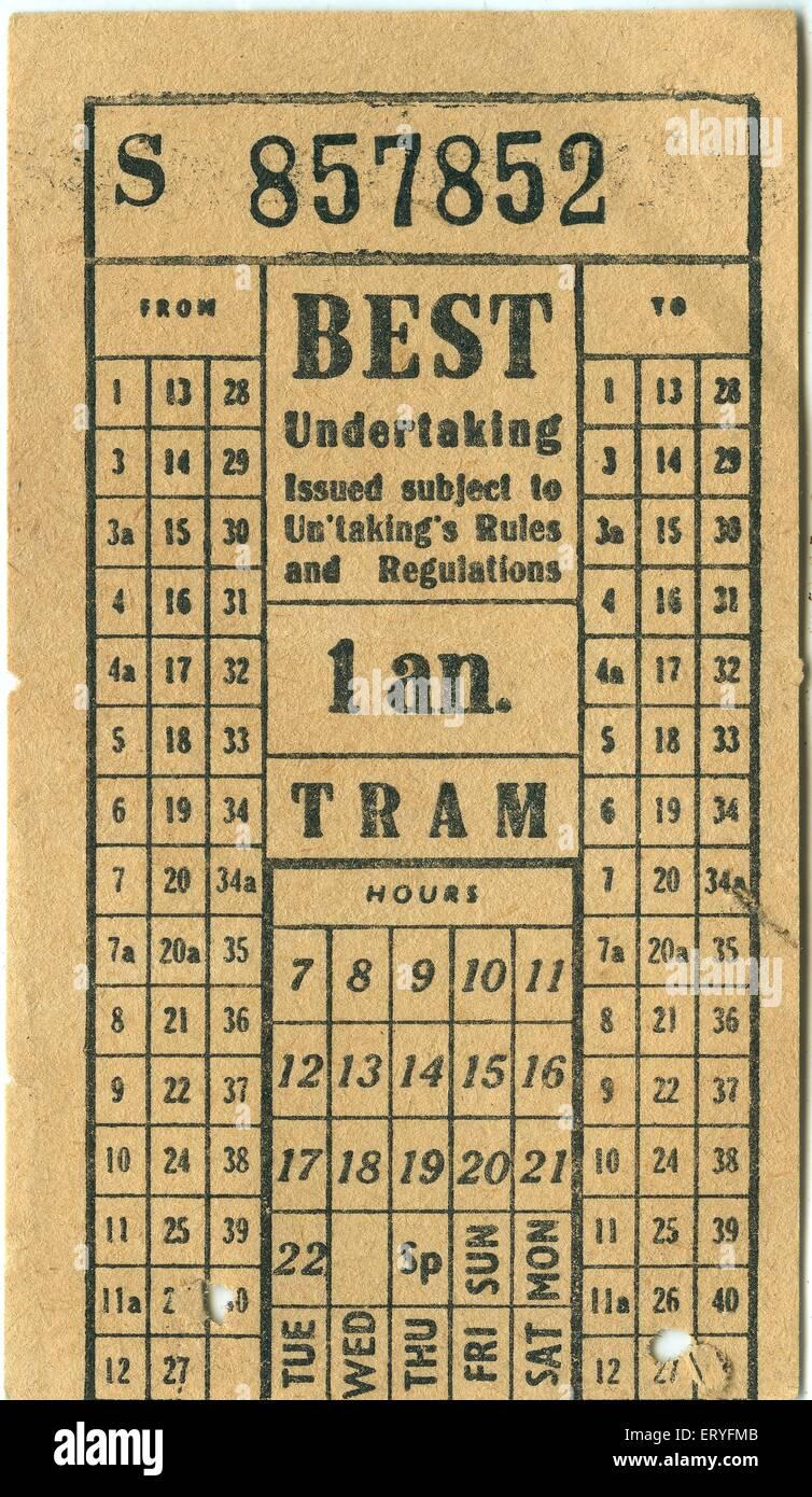 Best tram ticket c1950s - Stock Image