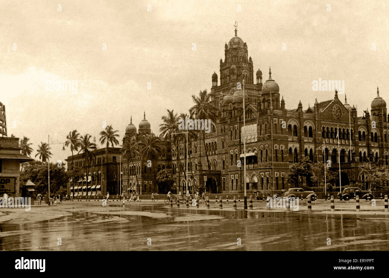 Old vintage 1900s B.B. and C.I railway headquarters Churchgate now Western Railway Headquarters , Bombay , Mumbai Stock Photo