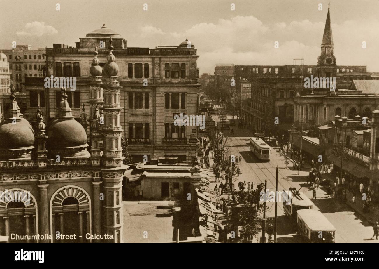 Old vintage 1900s Dharmatala Street now Lenin Sarani Calcutta Kolkata West Bengal India - Stock Image