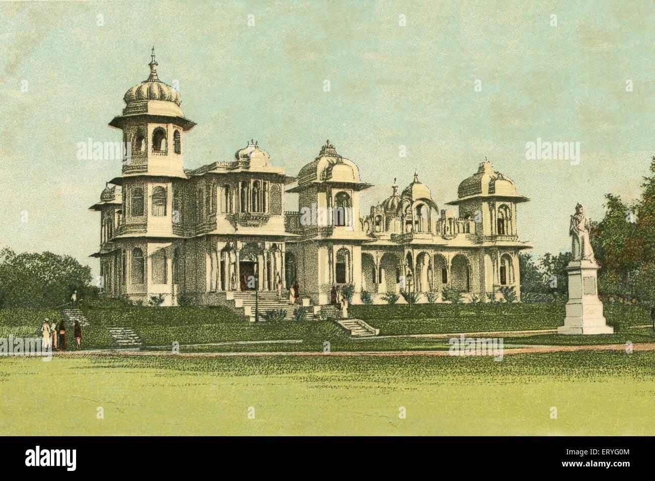 aad 170558 - Old vintage 1900s Victoria Museum now Saraswati Bhawan in Gulab Bagh , Udaipur , Rajasthan , India - Stock Image