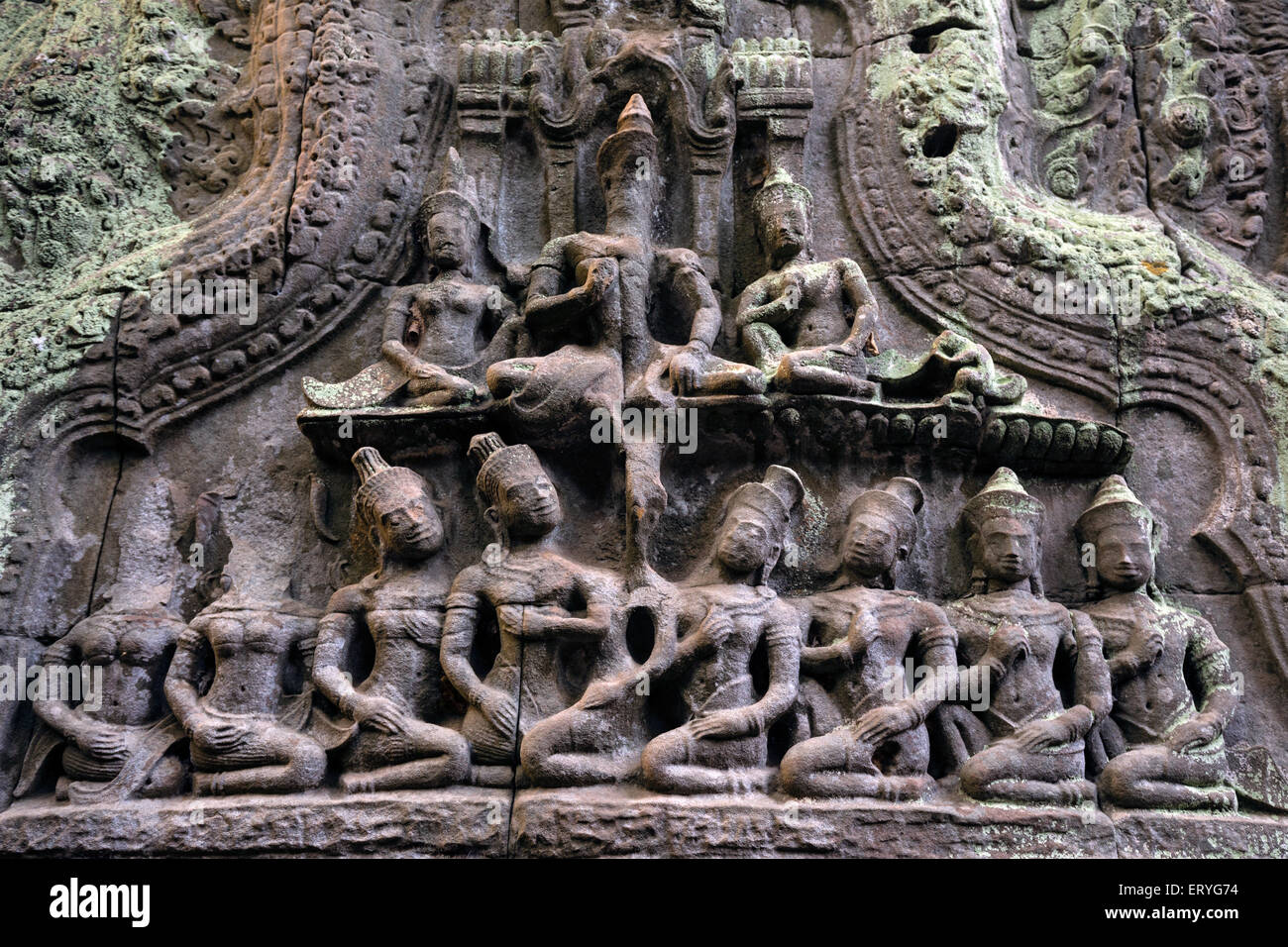Stone carving on a gopuram, Ta Prohm Temple, Angkor Thom, Siem Reap Province, Cambodia - Stock Image