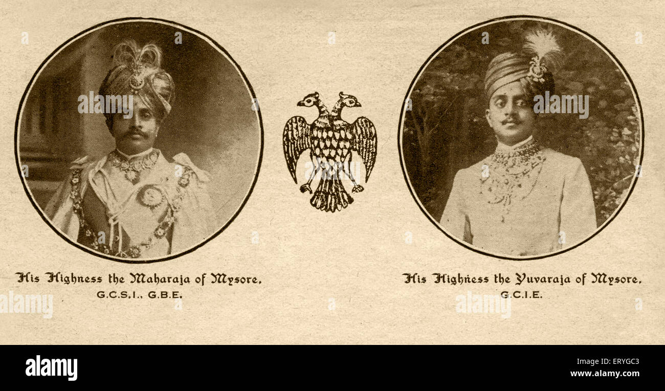 Old photograph of mysore maharaja and yuvaraja ; Karnataka ; India NOMR - Stock Image
