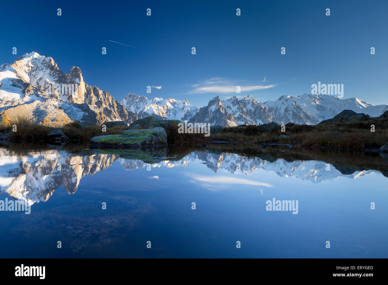 Mont Blanc massif reflected in the Lac des Chésery, Chamonix, Rhone-Alpes, France Stock Photo