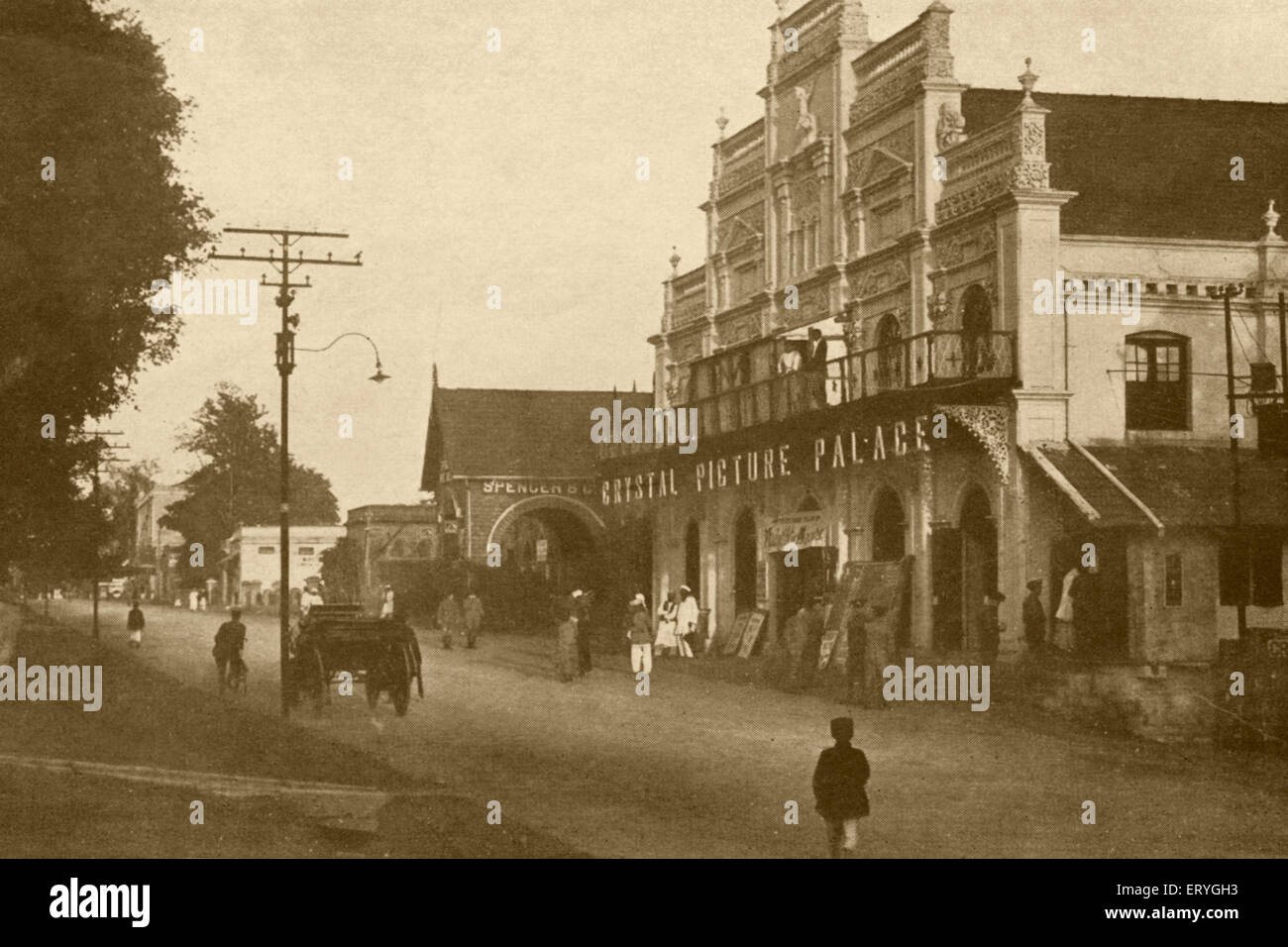 Old vintage 1900s Crystal Picture Palace on South Parade Road now M G  Road Bangalore Karnataka India - Stock Image