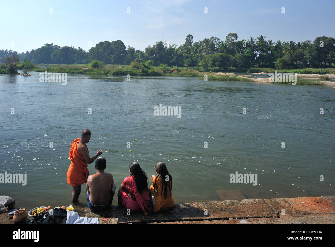 Riverbank of kaver ; Srirangapatna ; Mysore ; Karnataka ; India - Stock Image