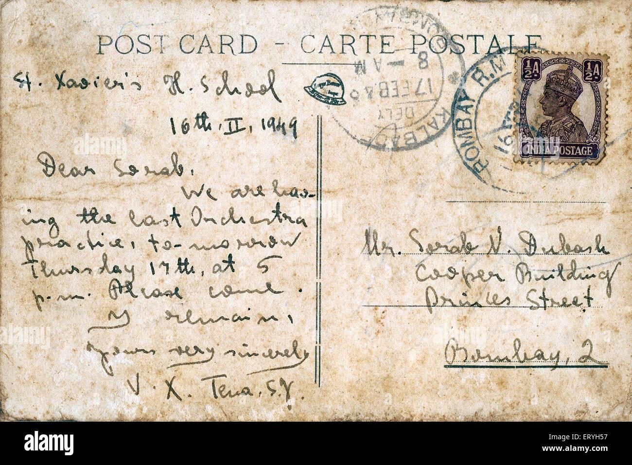 Hand written postcard - Stock Image
